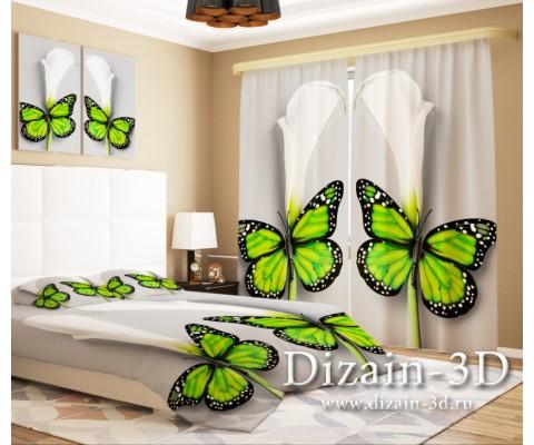 """ФотоШторы """"Каллы с бабочкой"""""""