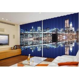 """ФотоШторы широкие """"Бруклинский мост и Манхэттен"""""""