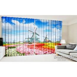 """ФотоШторы широкие """"Голландские поля тюльпанов"""""""