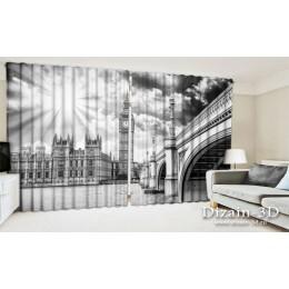 """ФотоШторы широкие """"Лондон черно-белый"""""""