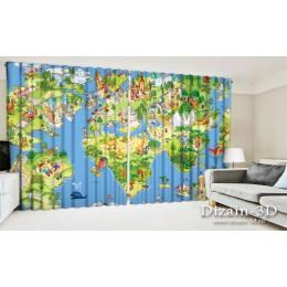 """ФотоШторы широкие """"Карта мира"""""""