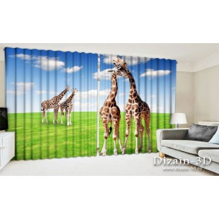 "ФотоШторы широкие ""Жирафы на лугу"""