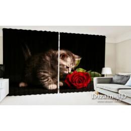 """ФотоШторы широкие """"Котёнок и роза"""""""