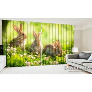 """ФотоШторы широкие """"Кролики на полянке"""""""