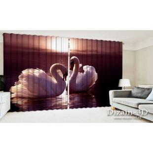 """ФотоШторы широкие """"Лебеди на закате"""""""
