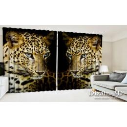 """ФотоШторы широкие """"Леопард на черном"""""""