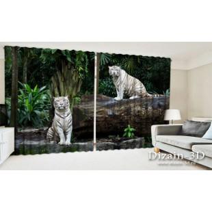 "ФотоШторы широкие ""Белые тигрята"""
