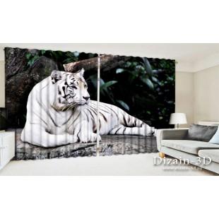 "ФотоШторы широкие ""Белый тигр"""