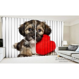 """ФотоШторы широкие """"Собака с сердцем"""""""