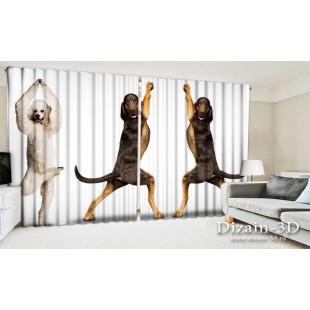 """ФотоШторы широкие """"Танцующие собаки"""""""