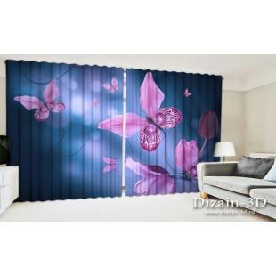 """ФотоШторы широкие """"Фиолетовые бабочки в сумраке"""""""