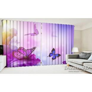 """ФотоШторы широкие """"Фиолетовые бабочки"""""""