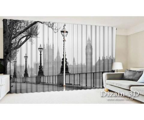 """ФотоШторы широкие """"Лондон в черно-белом"""""""