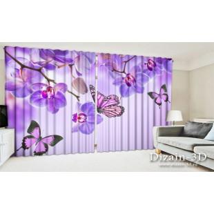 """ФотоШторы широкие """"Бабочки у воды с орхидеями"""""""