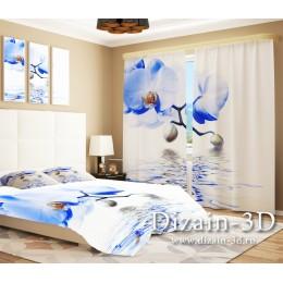 """ФотоШторы """"Орхидея в синем"""""""