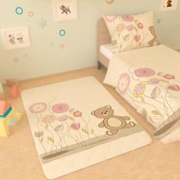 """Детский коврик """"Мишка и цветы"""""""
