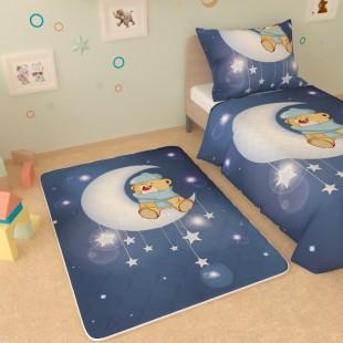"""Детский коврик """"Мишка на месяце с звёздами"""""""