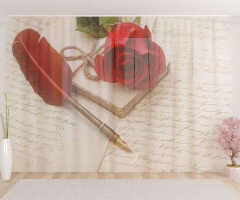 """ФотоТюль широкий """"Письмо любви"""""""
