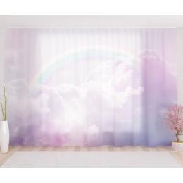 """ФотоТюль широкий """"Радуга в розовых облаках"""""""