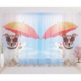 """ФотоТюль широкий """"Собака в отпуске"""""""