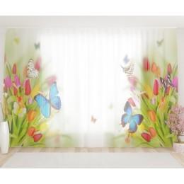 "ФотоТюль широкий ""Бабочки на тюльпанах"""