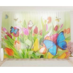 "ФотоТюль широкий ""Бабочки на цветах"""