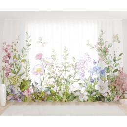 """ФотоТюль широкий """"Акварельные цветы"""""""