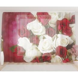 """ФотоТюль широкий """"Бело-бордовый букет роз"""""""