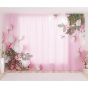 """ФотоТюль широкий """"Белые бутоны на розовой глади"""""""