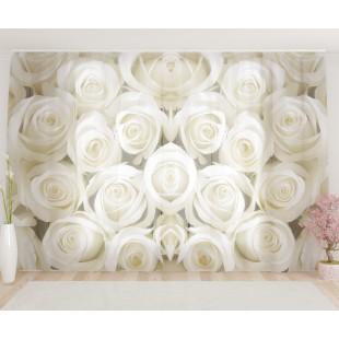 """ФотоТюль широкий """"Белые розы"""""""