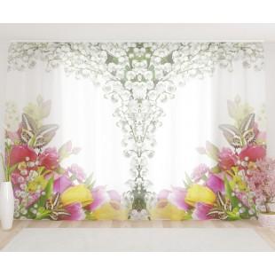 """ФотоТюль широкий """"Букет цветов с бабочками"""""""
