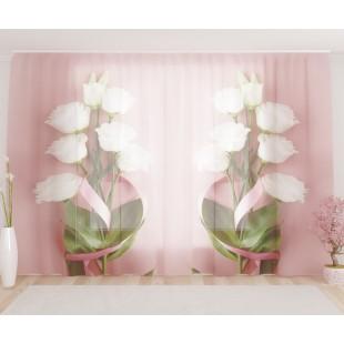 """ФотоТюль широкий """"Букетик белых роз"""""""