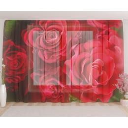 """ФотоТюль широкий """"Волнистые розы"""""""