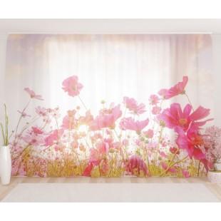 """ФотоТюль широкий """"Восход над цветочным полем"""""""
