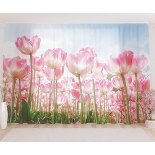 """ФотоТюль широкий """"Высокие тюльпаны"""""""