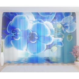 """ФотоТюль широкий """"Голубая орхидея"""""""