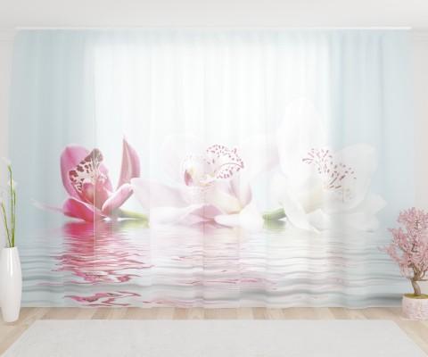 """ФотоТюль широкий """"Лилии на водной глади"""""""
