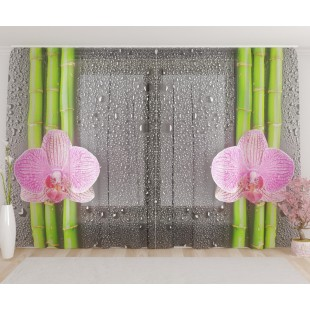"""ФотоТюль широкий """"Мягкая розовая орхидея с росой"""""""