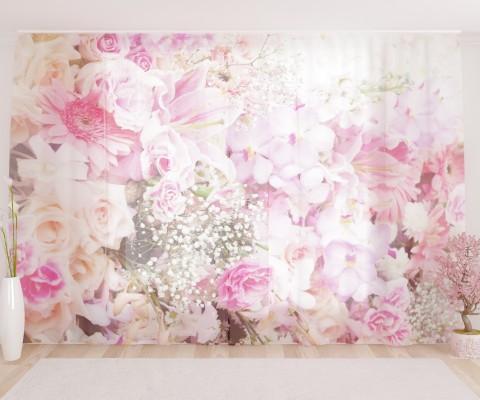 """ФотоТюль широкий """"Насыщенные розы"""""""