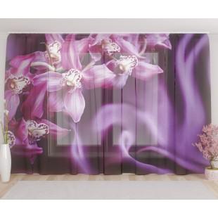 """ФотоТюль широкий """"Орхидеи на шелке"""""""
