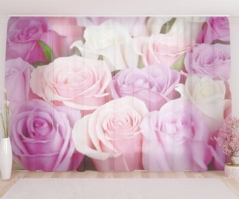 """ФотоТюль широкий """"Разноцветные розы"""""""