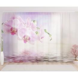 """ФотоТюль широкий """"Розовая орхидея у воды"""""""