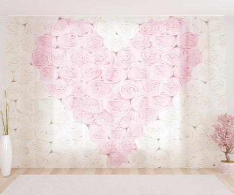 "ФотоТюль широкий ""Розовое сердце"""