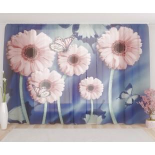 """ФотоТюль широкий """"Розовые хризантемы с бабочками"""""""