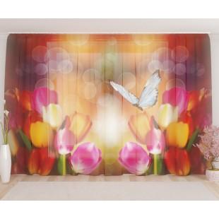 """ФотоТюль широкий """"Тюльпаны с бабочкой"""""""