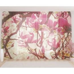 """ФотоТюль широкий """"Цветочное розовое дерево"""""""