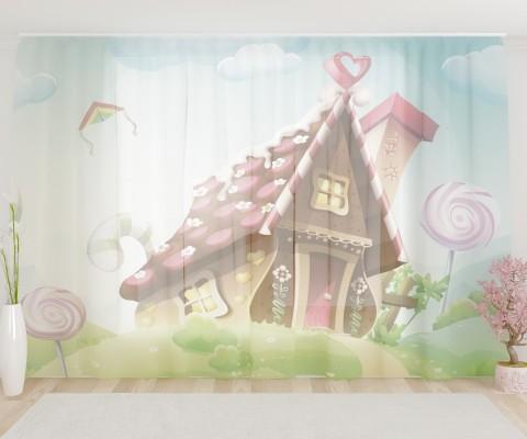 """ФотоТюль широкий """"Волшебный домик"""""""