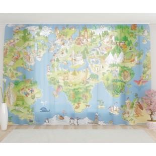 """ФотоТюль широкий """"Карта мира"""""""