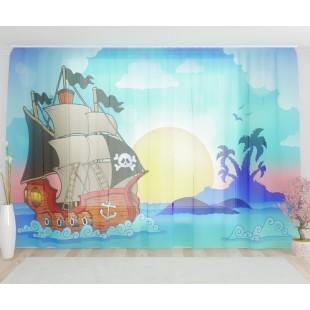 """ФотоТюль широкий """"Пиратский корабль"""""""