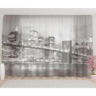 """ФотоТюль широкий """"Бруклинский мост черно-белый"""""""